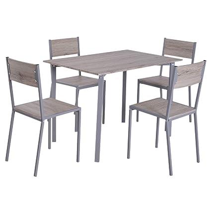 HOMCOM 5 Piezas Conjunto de Mesa y 4 Sillas de Comedor Juego Muebles de Cocina Sala Moderno Madera y Metal