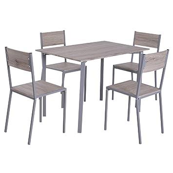 HOMCOM 5 Piezas Conjunto de Mesa y 4 Sillas de Comedor Juego Muebles de Cocina Sala Conjunto de Comdedor Moderno Madera y Metal