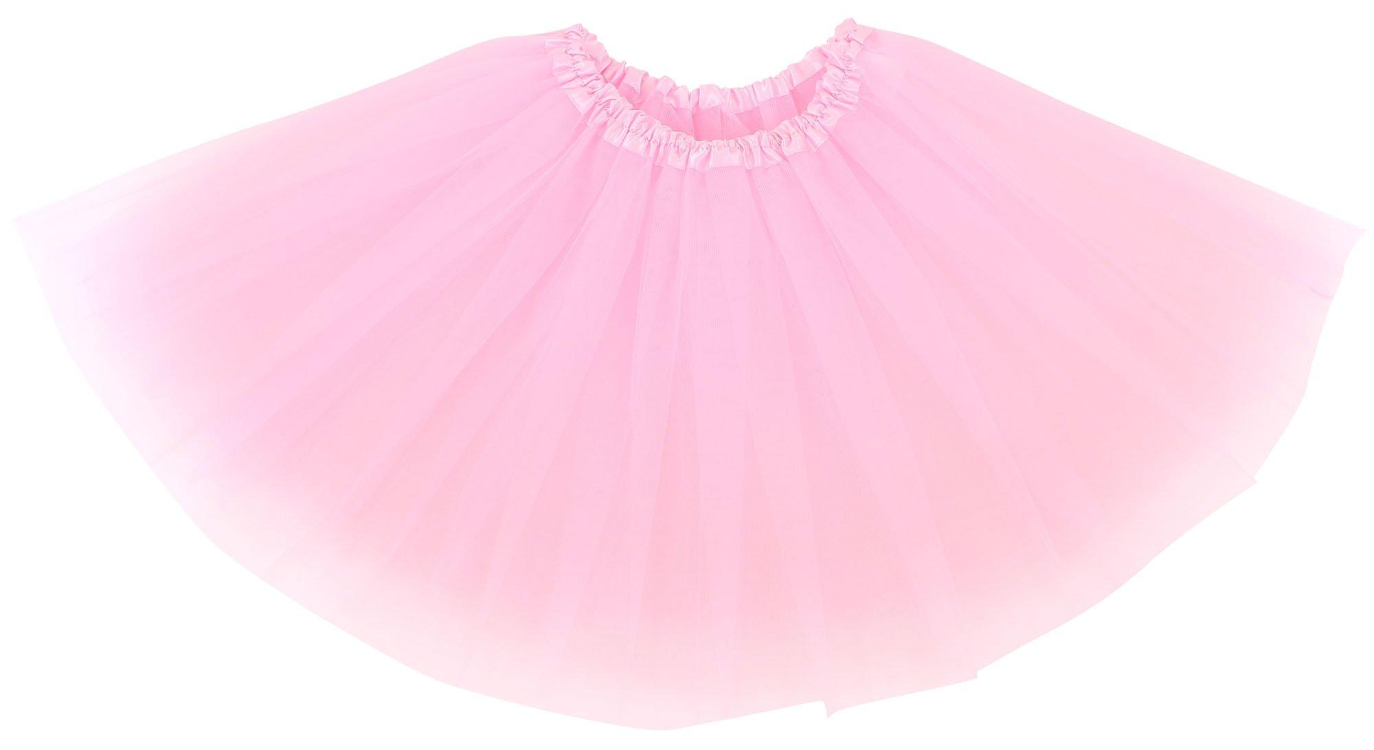 Simplicity Women's Classic Elastic, 3-Layered Tulle Tutu Skirt, Pink
