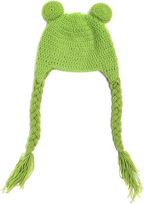 Amazon.com: BIBITIME Newborn Baby Frog Knit Hat Braid Earflap Hat ...