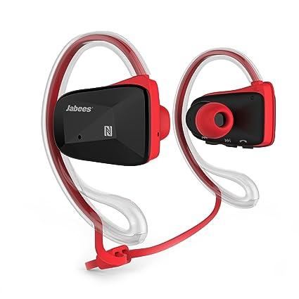 Jabees Bsport-RED - Auriculares de contorno de cuello (deportivas, Bluetooth, NFC