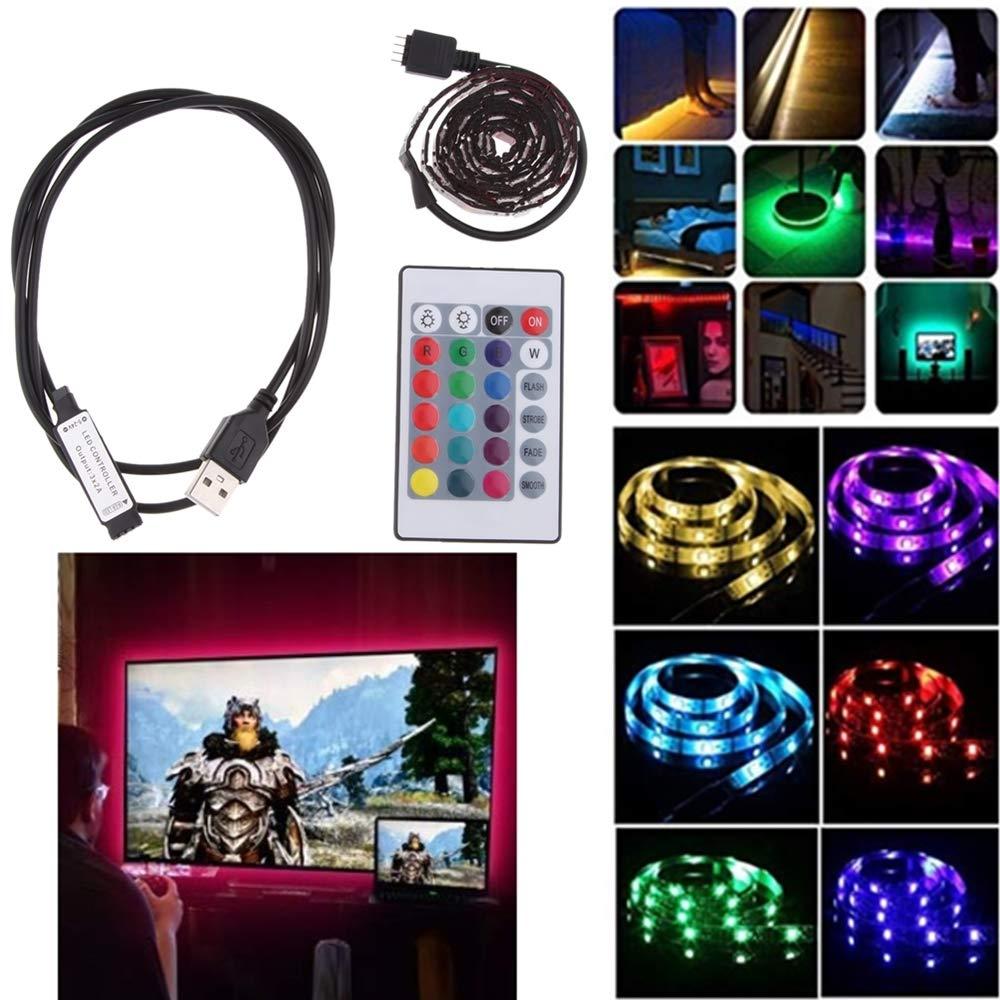 Bedside Desks etc. TVs perfk 4m LED Strip Lights USB Powered RGB Multi-Color Backlight DIY Kit Gadgets for Car Interiors Computer Monitors