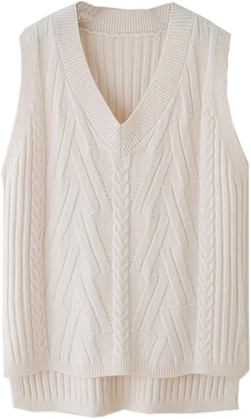 Vocni Womens Deep V-Neck Sleeveless Pullover Knit Sweater Vest