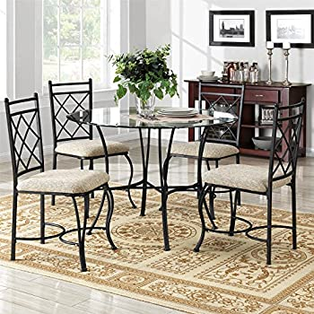 Amazon Com Mainstays 5 Piece Glass Top Metal Dining Set Home Kitchen