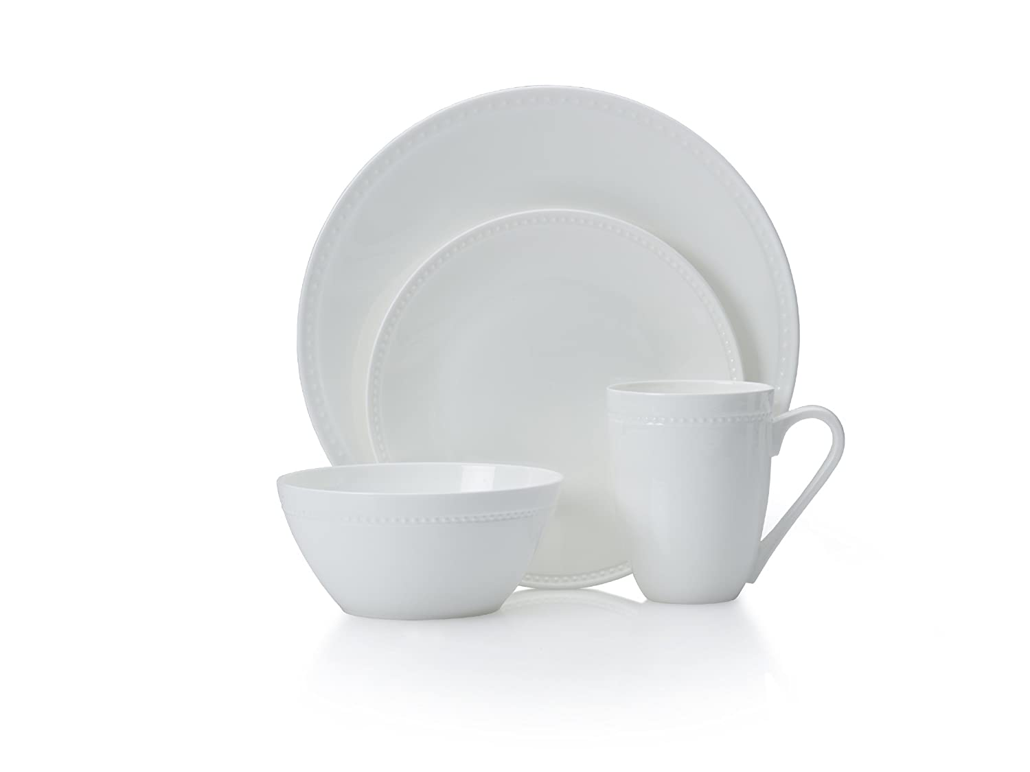 Mikasa 5224192 Loria 16-Piece Bone China Dinnerware Set - Dishwasher & Microwave Safe, Service for 4, White