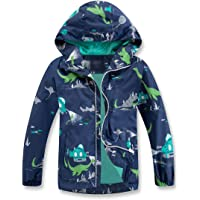 TLAENSON Boys Girls Rain Jacket Waterproof Dinosaur Windbreaker Lightweight Hooded Raincoat