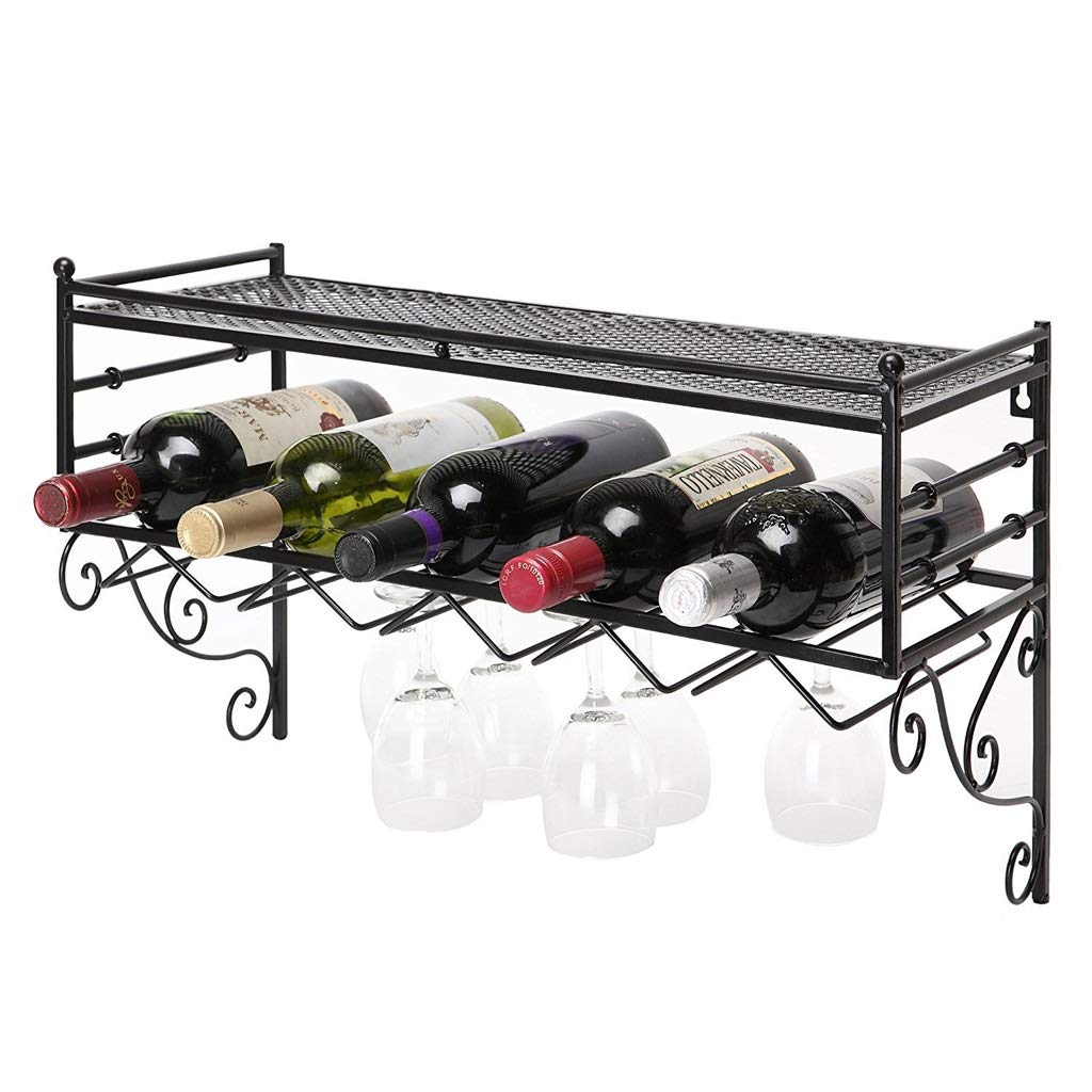 Wine Rack Iron Wall Hanging Restaurant Hotel Fan-Shaped Bar Decoration Storage