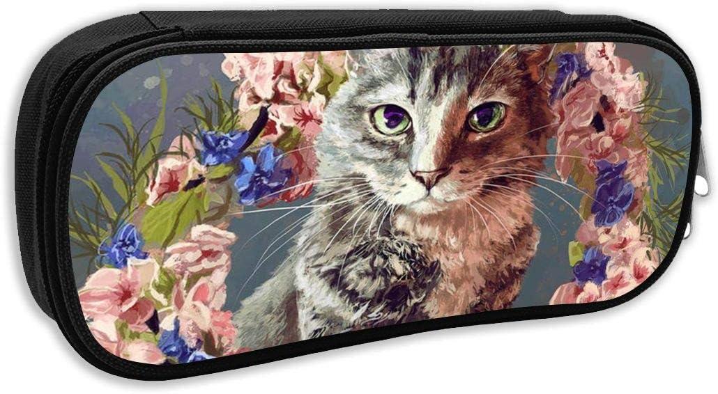 Bowser - Estuche para lápices y bolígrafos, diseño de flores y gatos: Amazon.es: Oficina y papelería
