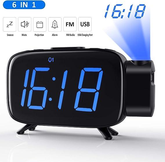 Tinzzi [Nueva Versión] Despertador Proyector, Radio Despertador ...