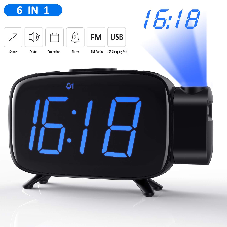 Tinzzi [Nueva Versión] Despertador Proyector, Radio Despertador con Alarmas Duales/Reloj Digital de Cabecera con Puerto USB/Regulable Pantalla LED de ...