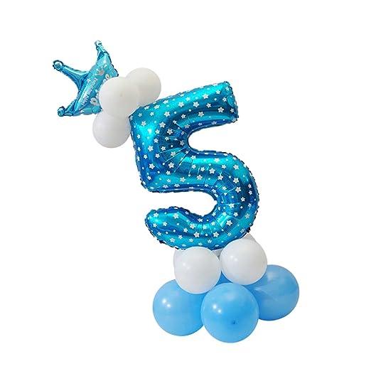 Magideal Números Globo Corona Columna Colección Feliz Cumpleaños Decoración de Casa - Azul, 5
