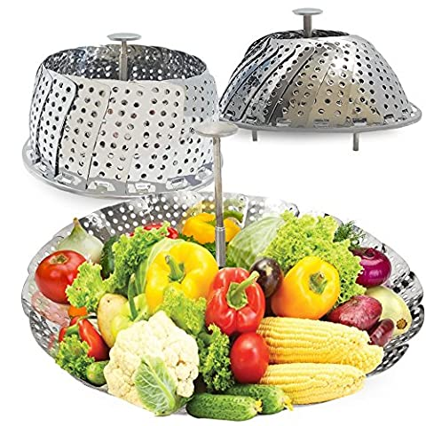 Vegetable Steamer Basket Stainless Steel Insert For Large Pots Extendable Handle By Costa Quality - Clam Steamer Pot