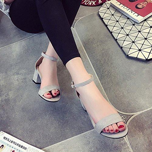 High EU35 L'Élégant Des Sau Female Fixations SHOESHAOGE Heeled Chaussures Les Sandales D'Épaisseur Avec Dew 1qOqvwd