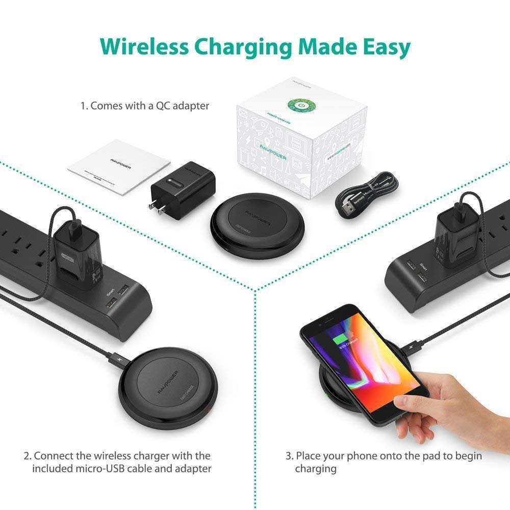 Fast Wireless Charger RAVPower 7.5W Compatible iPhone Xs MAX/XR/XS/X/8/8 Plus, with HyperAir, 10W Compatible Galaxy S9, S9+, S8, S7 & Note 8 and All Qi-enabled Devices (QC 3.0 Adapter Included) by RAVPower (Image #8)