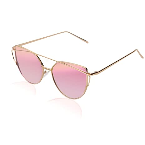 02fe52adcb51a Mannli Lunette de Soleil Polarisé Femme Œil de Chat Mode Twin-Beams  Metallique Verres Fashion