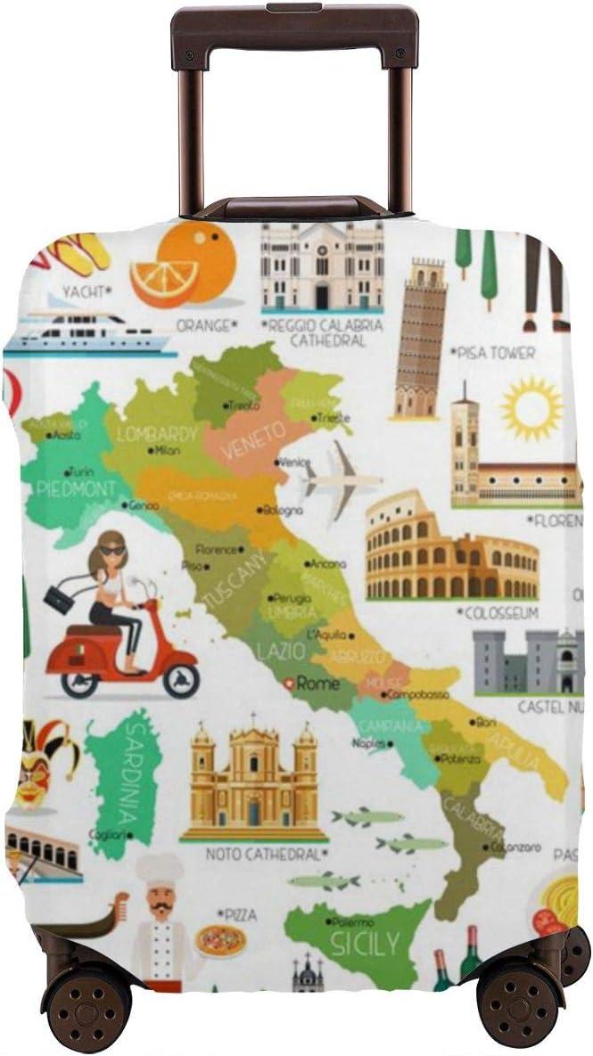 Mapa de la Cubierta Protectora de la Maleta de Italia y Los Iconos de Viaje Protector de Maleta de Viaje M