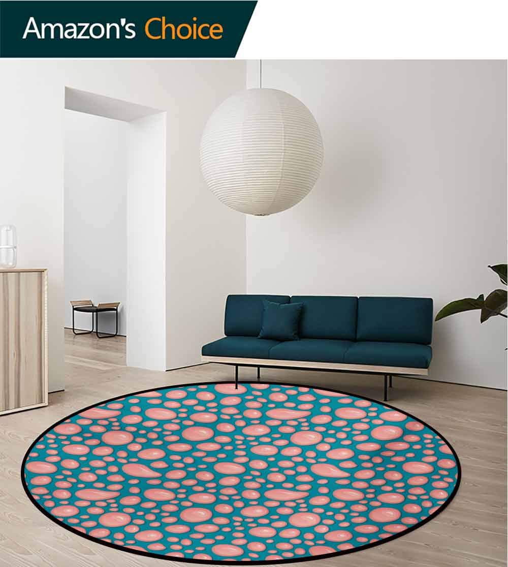 RUGSMAT Pale Pink Computer Chair Floor Mat,Drops and Round Splash of Bubble Gum On Blue Background in Cartoon Style Printed Round Carpet for Children Bedroom Play Tent,Diameter-51 Inch