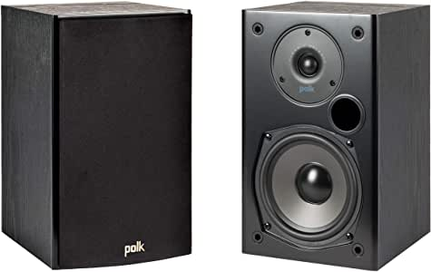 Polk Audio T15 100 Watt Home Theater Bookshelf Speakers – Hi-Res Audio with Deep Bass Response | Dolby and DTS Surround | Wall-Mountable| Pair, Black