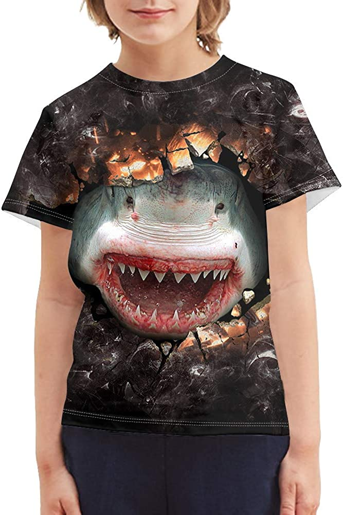 doginthehole Angry Shark Pattern Shirts Boys Children T Shirt Round Neck Tops Tees