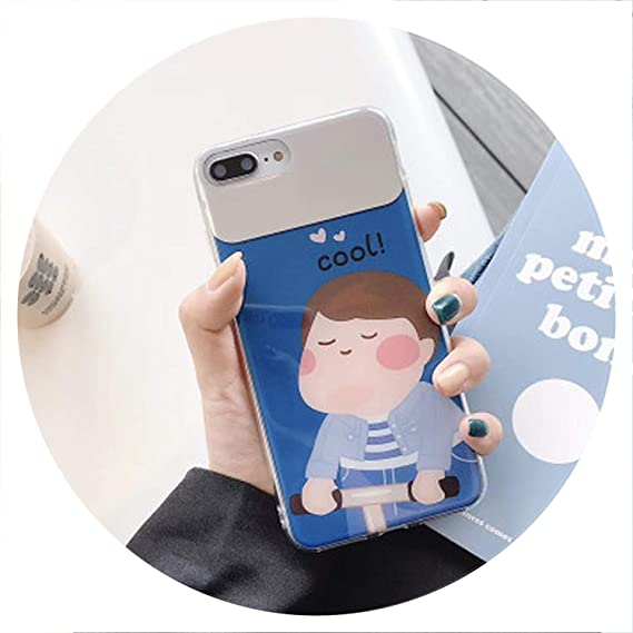 Amazon.com: Couple Cartoon Girl Mirror Silicone Case for ...