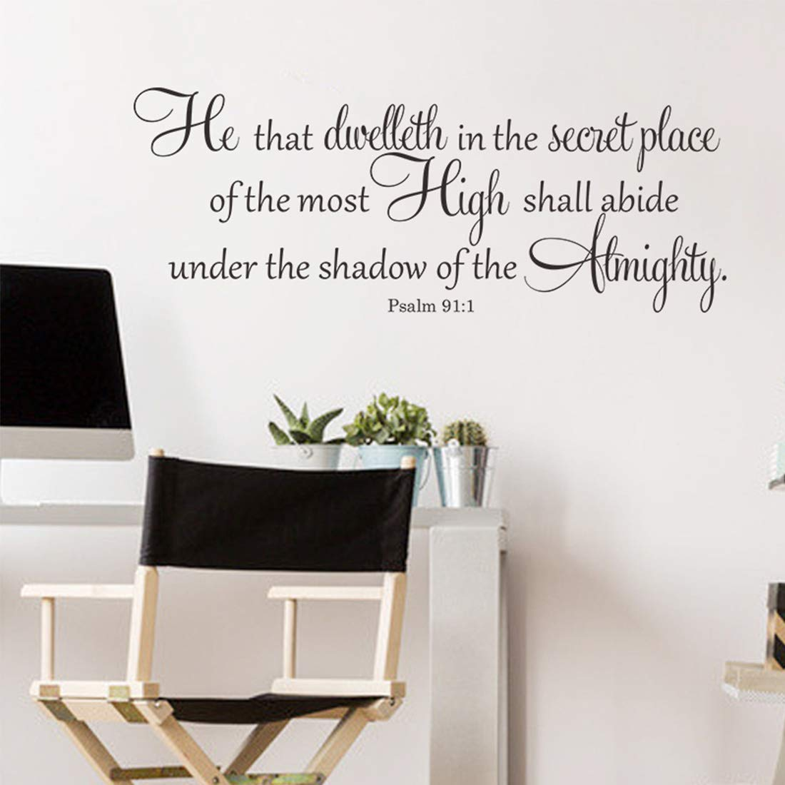 Bible Verse Scripture Inspirational Wall Decor Quotes for Living Room – He That Dwelleth in The Secret Place – Wall Decor for Bedroom Classroom Playroom Nursery