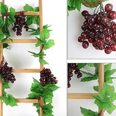 2,4m*5 Ruiting Simulation Pflanzen Obst Traube Weinreben Kunststoff K/ünstliche Blume f/ür Blumenschmuck Garten dekor Balkon deko Traube 5 STK
