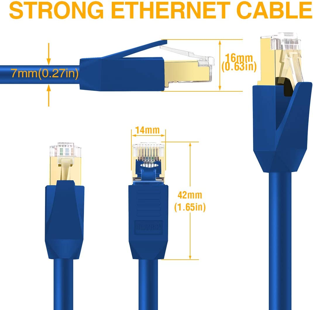 Router Black Modem CAT 8 Ethernet Cable Gaming Outdoor/&Indoor for Network Switch GLANICS 10 ft Internet Cable