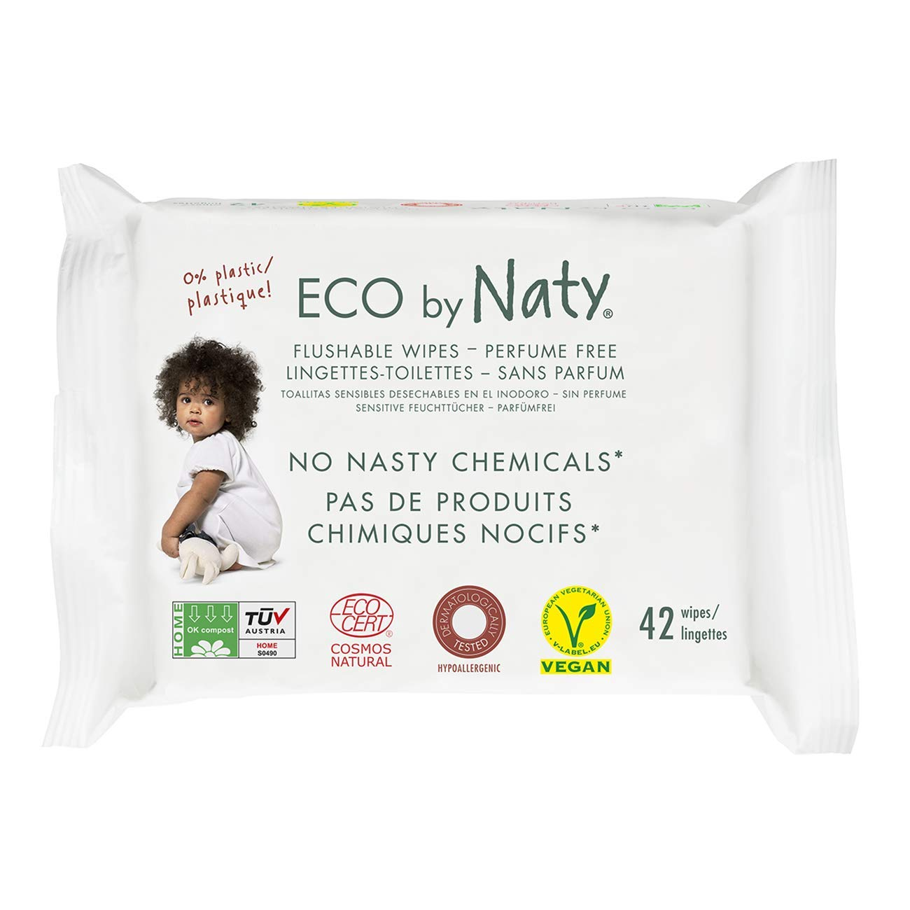 Eco by Naty Thick Flushable Baby Wipes for Sensitive Skin, Unscented, Hypoallergenic, Biodegradable and Compostable, 12 Packs of 42 (504 Count) by Eco by Naty