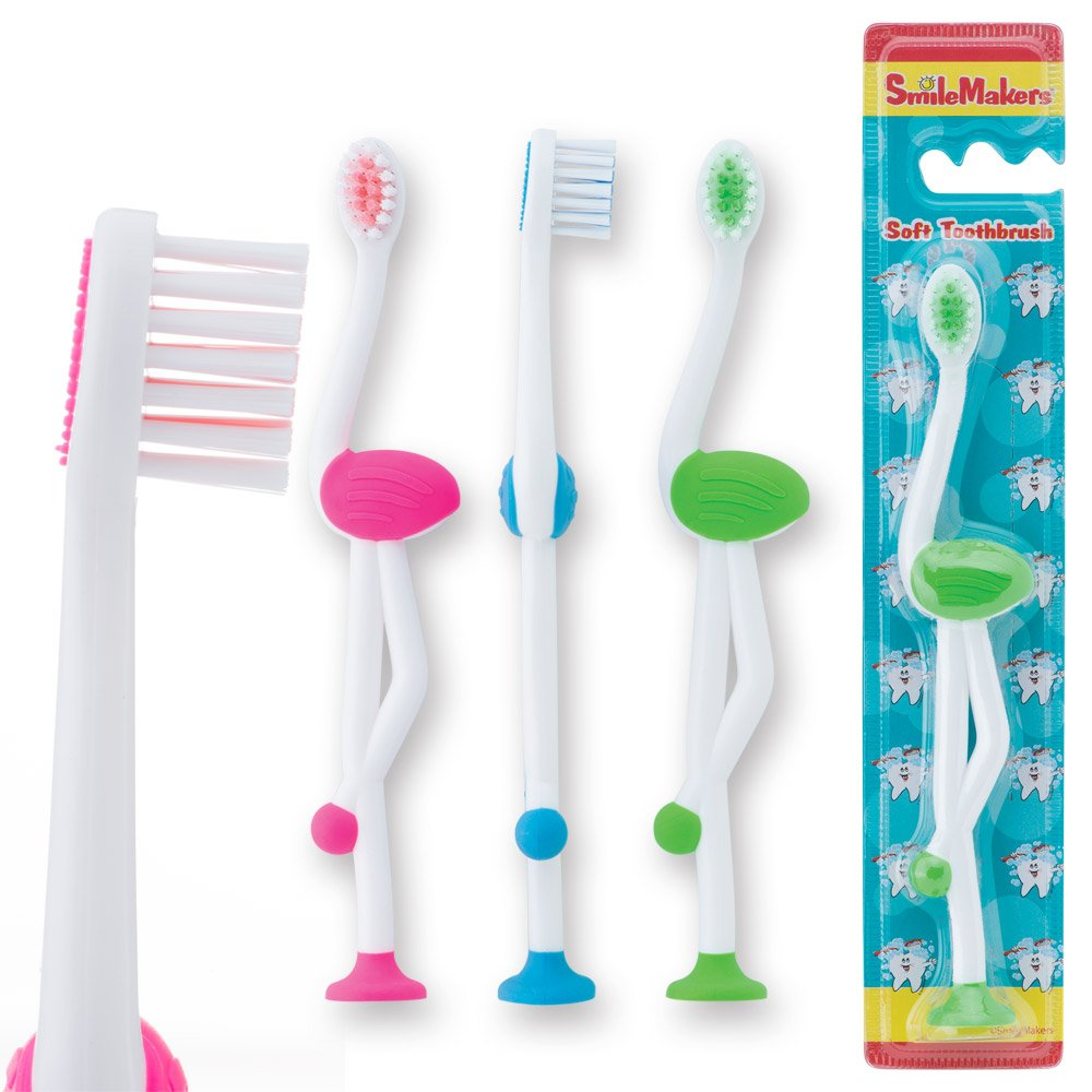 SmileCare Toddler Flamingo Toothbrushes - Dental Hygiene Products and Supplies - 48 per Pack