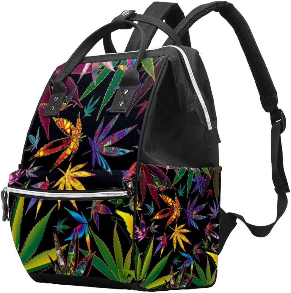 Bennigiry Marihuana hojas de cannabis bolsa de pañales mochila de gran capacidad para viaje, bolsa organizadora de pañales multifunción para mamá