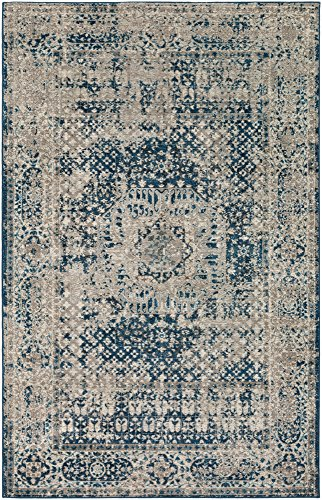 Yatesboro Vintage Distressed Blue 9' x 12' Rectangle Updated Traditional 100% Polypropylene Navy/Cream/Taupe Area - Taupe Rug Rectangle