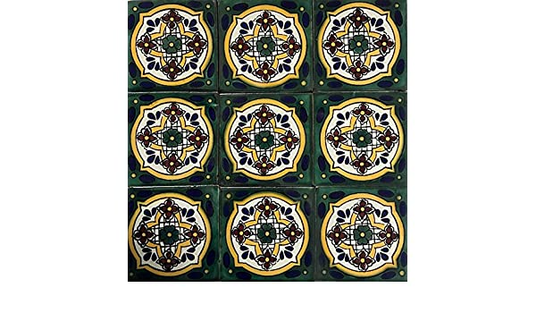 Amazon.com: 2x2 Talavera Tile Mexican Authentic Hand Made Colorful Beautiful Home Restoration Unique Old World Small Size (100 Piece Box Set) M-14: Home & ...