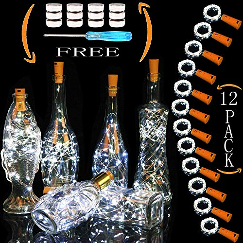 Cooo Wine Bottle Lights with Cork 12 Pack 20 Led Lamp 36 Pre-Installed+12 Replacement Battery Operated with Fairy Light 7ft Used DIY Wedding Party Bedroom Decoration Halloween Christmas(Cool White) -