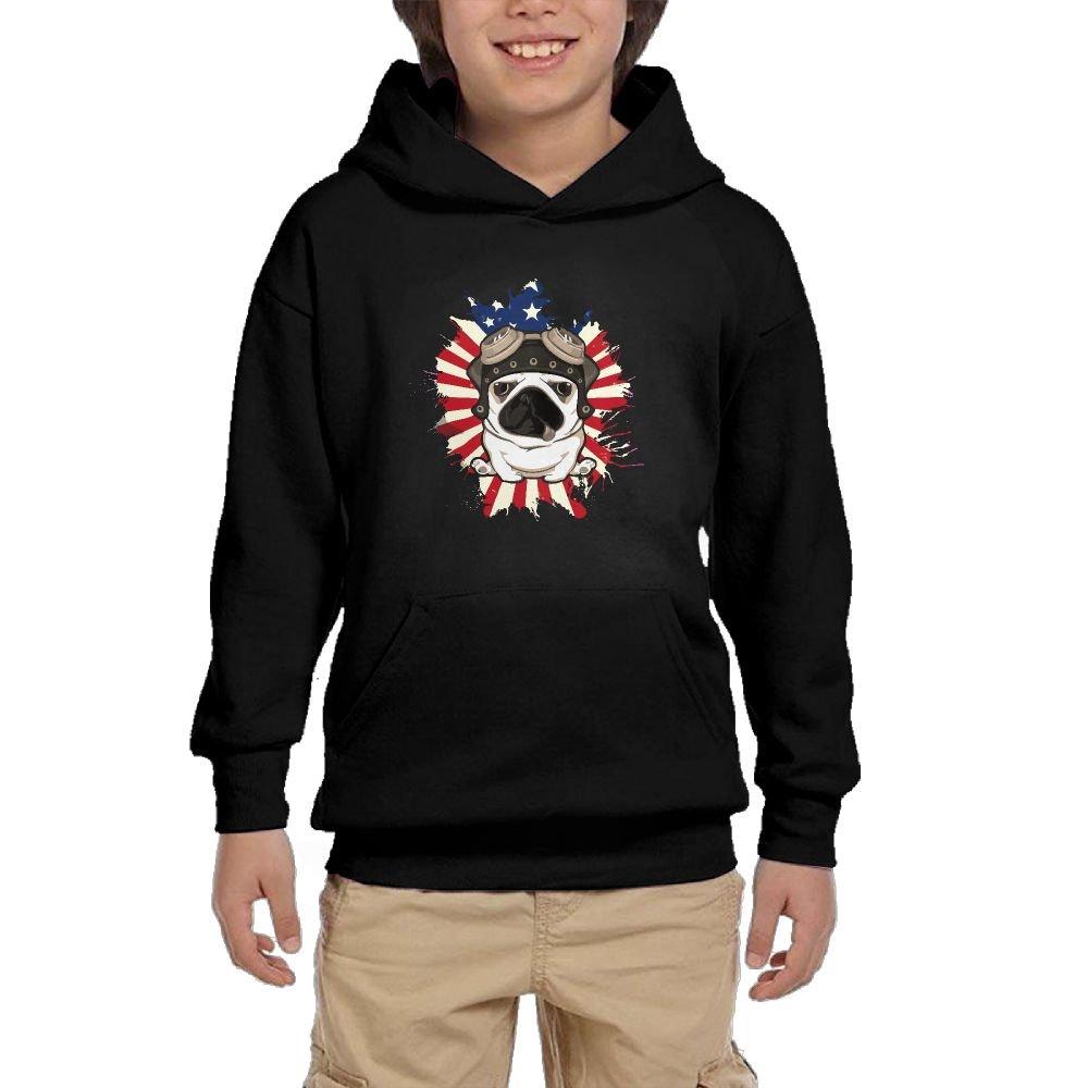 Hapli Youth Black Hoodie Pug Pet Dog Patriot USA Flag Hoody Pullover Sweatshirt Pocket Pullover For Girls Boys L by Hapli