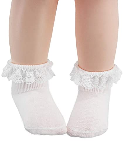 0ab24cf871991 Baby Socks 6-12/12-24 Months Girls, Toddler Frilly Lace Dress Ankle Socks  for Baby Toddler Girls - Cotton - 4/6Pairs