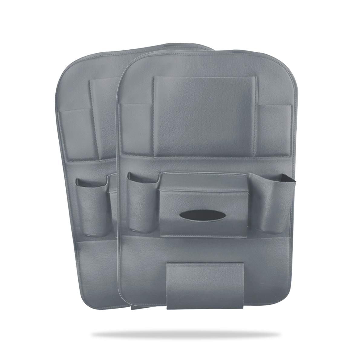 Ergocar 2 Packs Organizzatori per auto in pelle PU, Coprisedili per schienale, Kick Mat Car per sedile posteriore con 10.1'per iPad/Tablet Multi tasche con scatola del tessuto - Beige