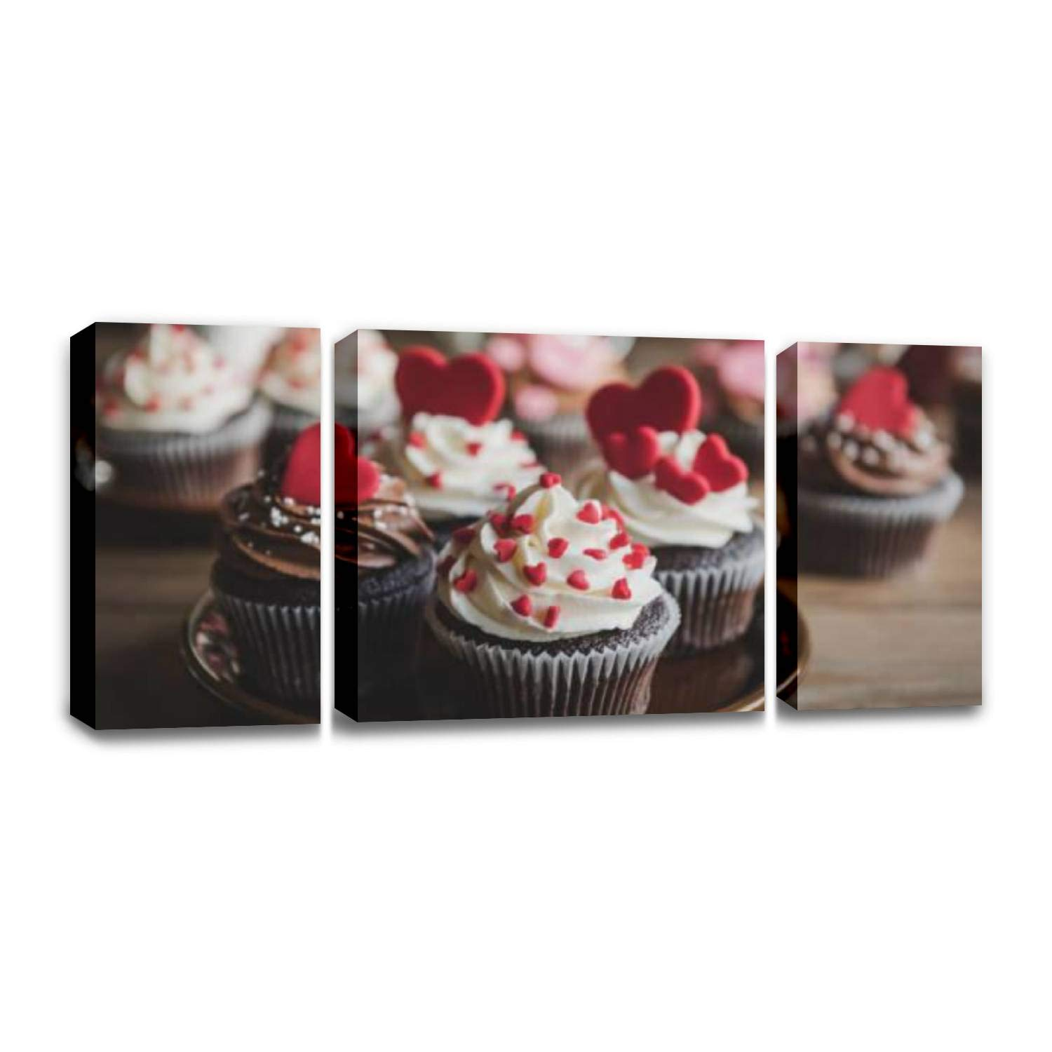 CCArtist Love Concept Cupcakes Wall Decoration Print Photo on Canvas Modern Photography Home Decor Modern Canvas Painting Wall Art by CCArtist