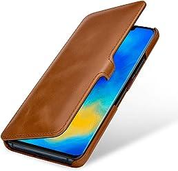StilGut Housse pour Huawei Mate 20 Pro Book Type en Cuir, Cognac avec Clip