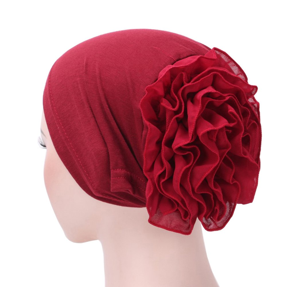 dds5391 Muslim Hijab Turban Arabic Head Scarf Flower Women Chemo Cap Cotton Bandana