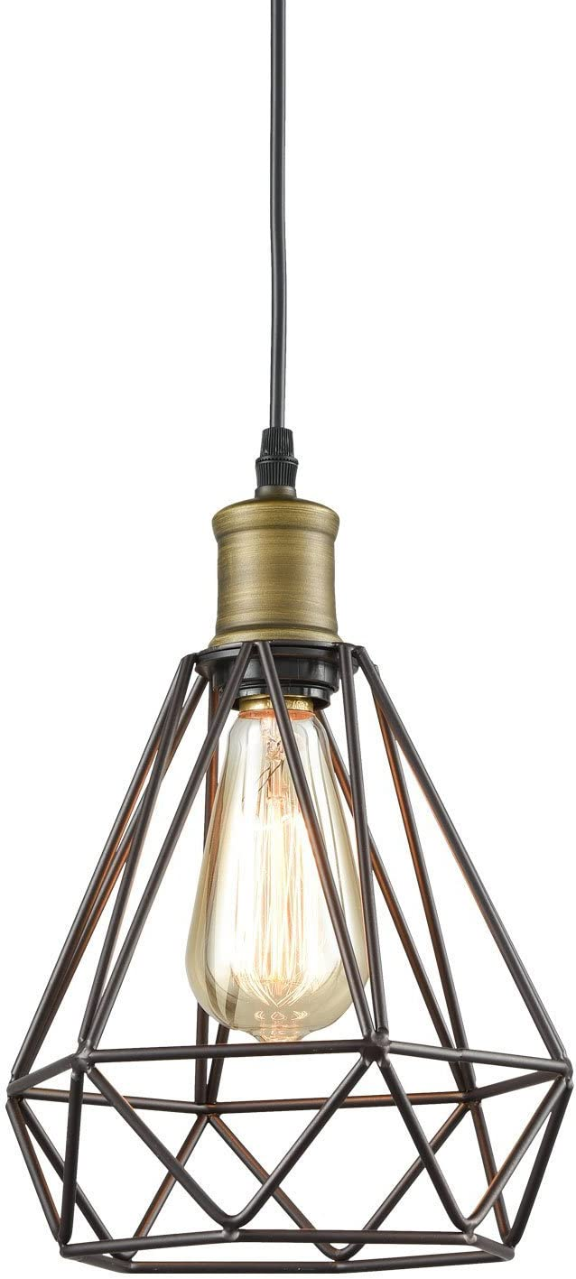 Farmhouse Plug in Pendant Light with On/Off Switch Wire Caged Hanging Pendant Lamp - -