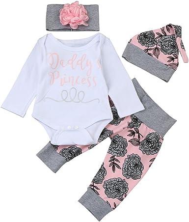 US 4Pcs Newborn Infant Baby Girl Clothes Romper Pants Leggings Floral Outfit Set