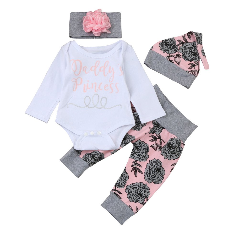 Gonxifacai Newborn Infant Baby Girls Long Sleeve Letter Romper Tops+Floral Pants+Hat+Headband Clothes