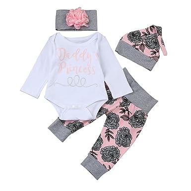 12de09fa1 Amazon.com  Toraway 4Pcs Set Newborn Newborn Infant Baby Girl Letter ...