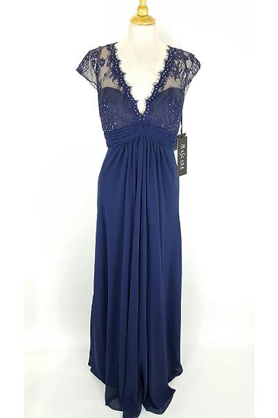 Mascara Vestido azul marino 185135 doble V de encaje vestido UK 22 (US 18)