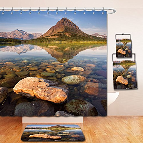 Beshowereb Bath Suit: Showercurtain Bathrug Bathtowel Handtowel morning at swiftcurrent lake in the many glacier area of montana s glacier national park 457804054 Montana State Bird
