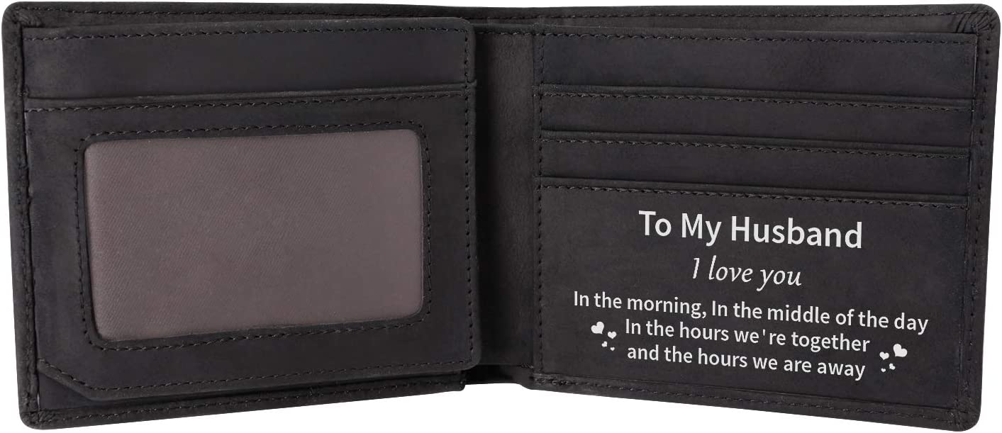 wallet -To my man Custom Slim Genuine Leather Wallet,Engraved Handmade Credit Card Hold Black For Men,Perfect Gift For Birthday Christmas Day.