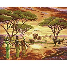 Wooden Framed Greek Art Paintworks Paint Color By Number Kits,African Grasslands,16-Inch by 20-Inch
