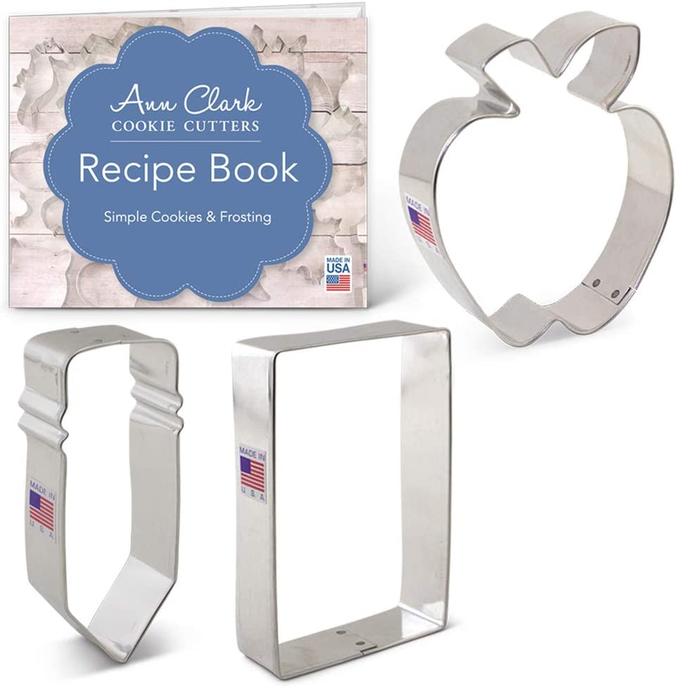 Ann Clark Cookie Cutters 3-Piece Back to School Cookie Cutter Set with Recipe Booklet, Apple, Pencil