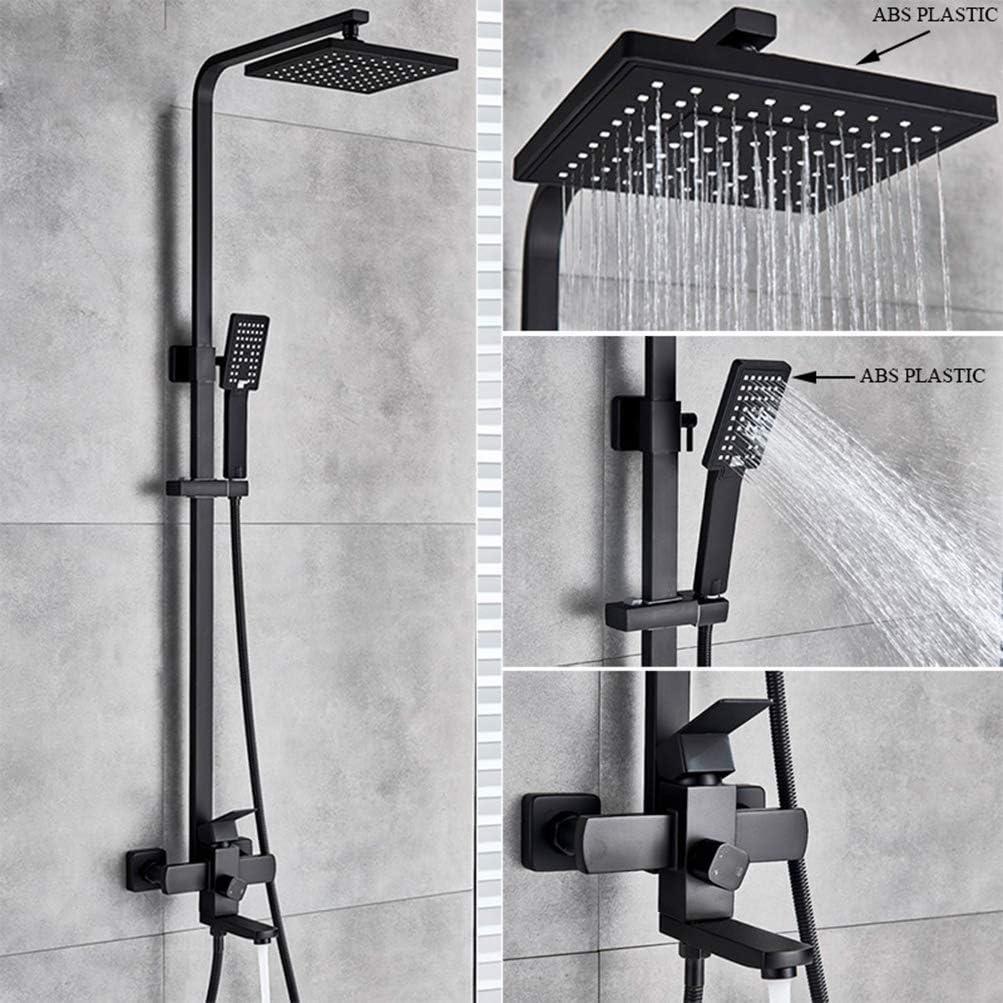 Black Square Bathroom Shower Faucet Set Rain Spout Ceiling//Wall Mount Mixer Tap