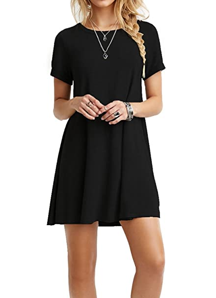 96b0ab24ff7 TINYHI Women s Swing Loose Short Sleeve Tshirt Fit Comfy Casual Flowy Tunic  Cotton Dress Black